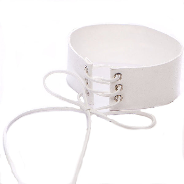 White Leather Punk Style Collar Choker Necklace