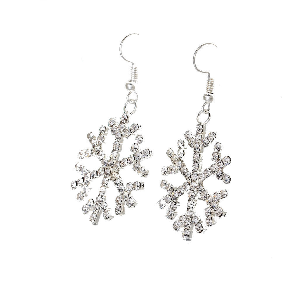 Gorgeous Large Silver Plated Crystal Snowflake Drop Earrings
