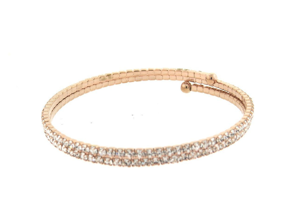 Rose Gold Double CZ Flexible Spiral Bangle