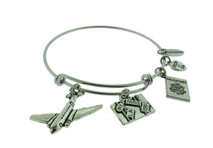 "Airplane "" Suitcase "" Silver Tone Expandable Wire Bracelet"