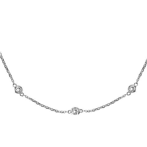 "Sterling Silver 16"" Diamonds by The Yard Necklace"