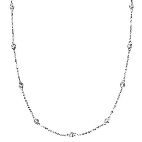 "Sterling Silver 24"" Diamonds by The Yard Necklace"