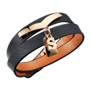 S Lock Black Pebbled Leather Wrap Bracelet