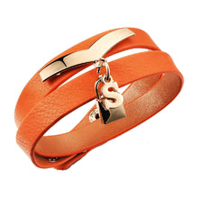 S Lock Orange Pebbled Leather Wrap Bracelet