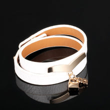 S Lock White Pebbled Leather Wrap Bracelet