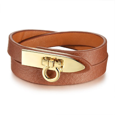 Brown Leather Turn Buckle Wrap Bracelet