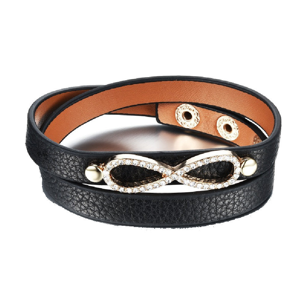 Infinity Black Pebbled Leather Wrap Bracelet