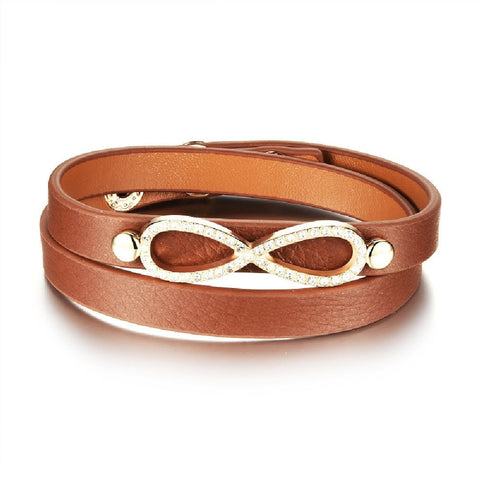 Infinity Brown Pebbled Leather Wrap Bracelet