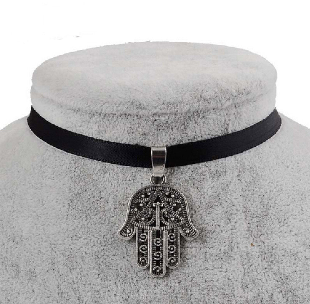 Black Velvet Ribbon Hamsa Choker Necklace
