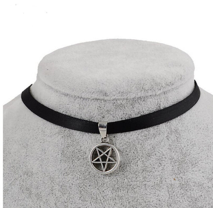 Black Velvet Ribbon Pentagon Star Choker Necklace