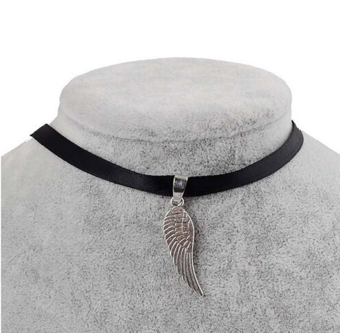 Black Velvet Ribbon Angel Wing Choker Necklace
