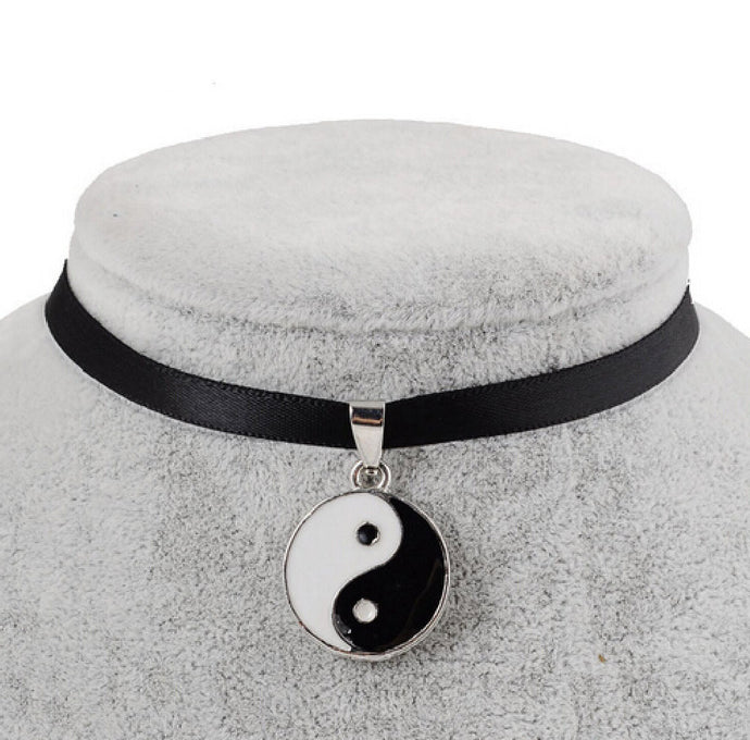 Black Velvet Ribbon Yin Yang Choker Necklace