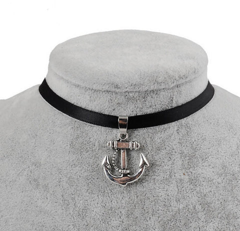 Black Velvet Ribbon Anchor Choker Necklace
