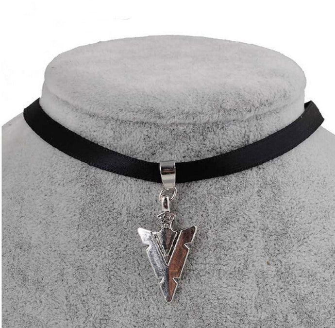 Black Velvet Ribbon Arrowhead Choker Necklace