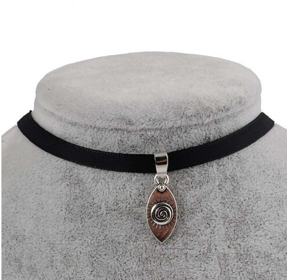 Black Velvet Ribbon Evil Eye Choker Necklace