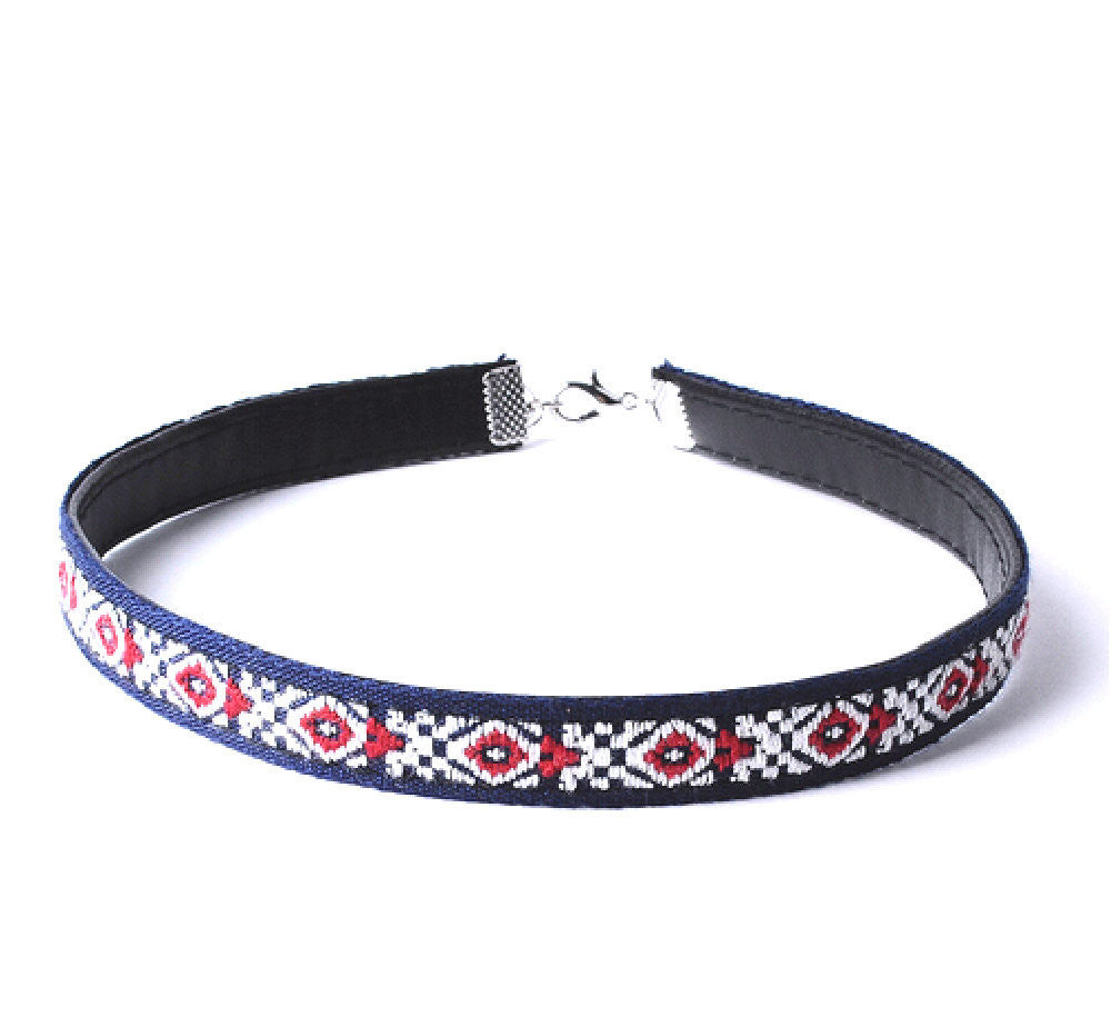 American Multi Color Leather BoHo Choker Necklace