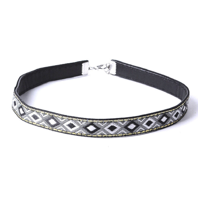 Amelia Grey Leather BoHo Choker Necklace