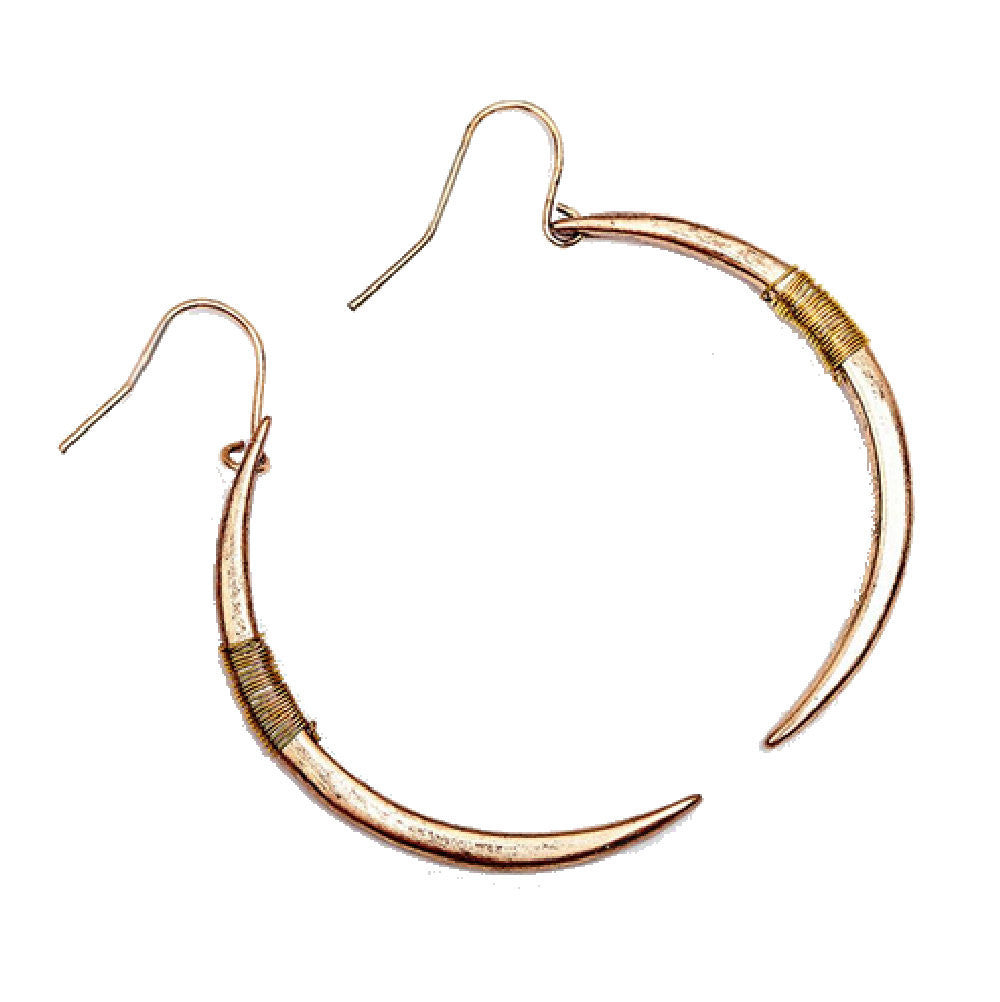 Iggy Curved Spike Punk Gold Plated Earrings
