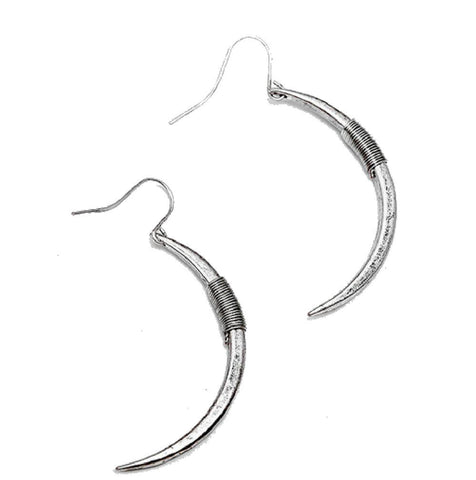 Iggy Curved Spike Punk Silver Plated Earrings