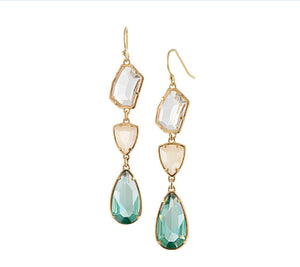 Natural Crystal Drop natural Gold Plated Earrings