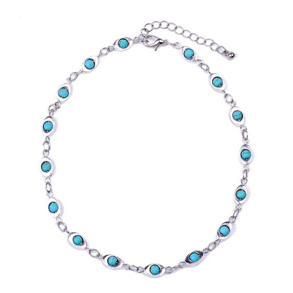 Amy's Turquoise Beaded Eyes Silver-tone Choker Necklace