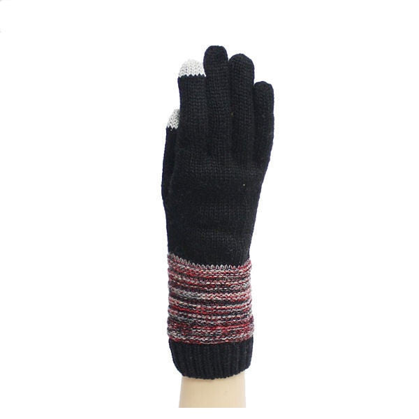 Women's Black knit magic touch screen Texting Gloves