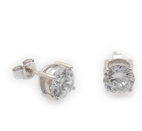 Sterling Silver 6mm Brilliant Cut CZ Stud Earrings
