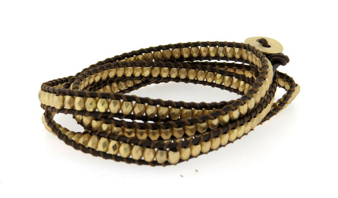 Classic Gold bead Wrap Leather Bracelet