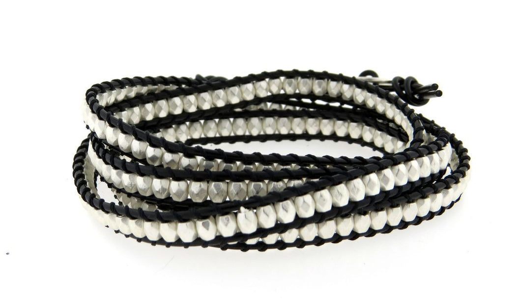 Classic Silver bead Wrap Leather Bracelet