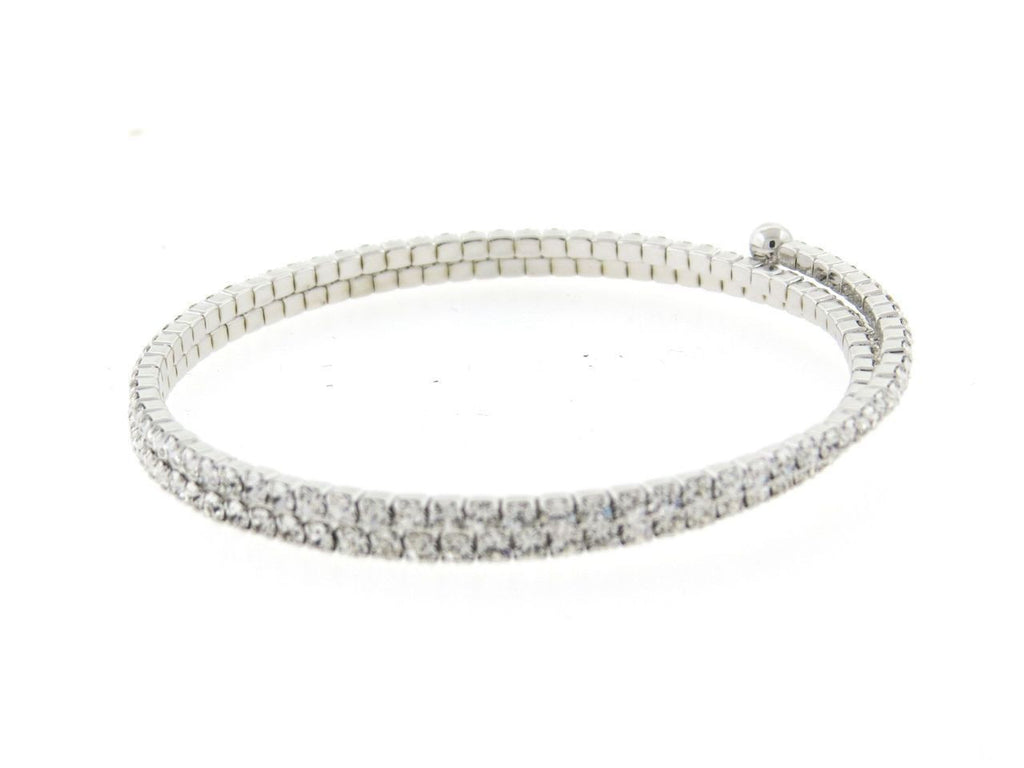Silver Double CZ Flexible Spiral Bangle