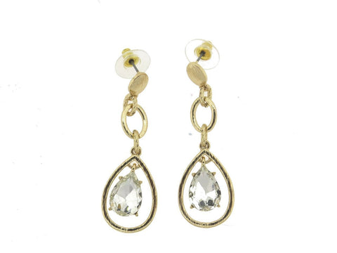 Gold Link Clear Stone Teardrop Earrings