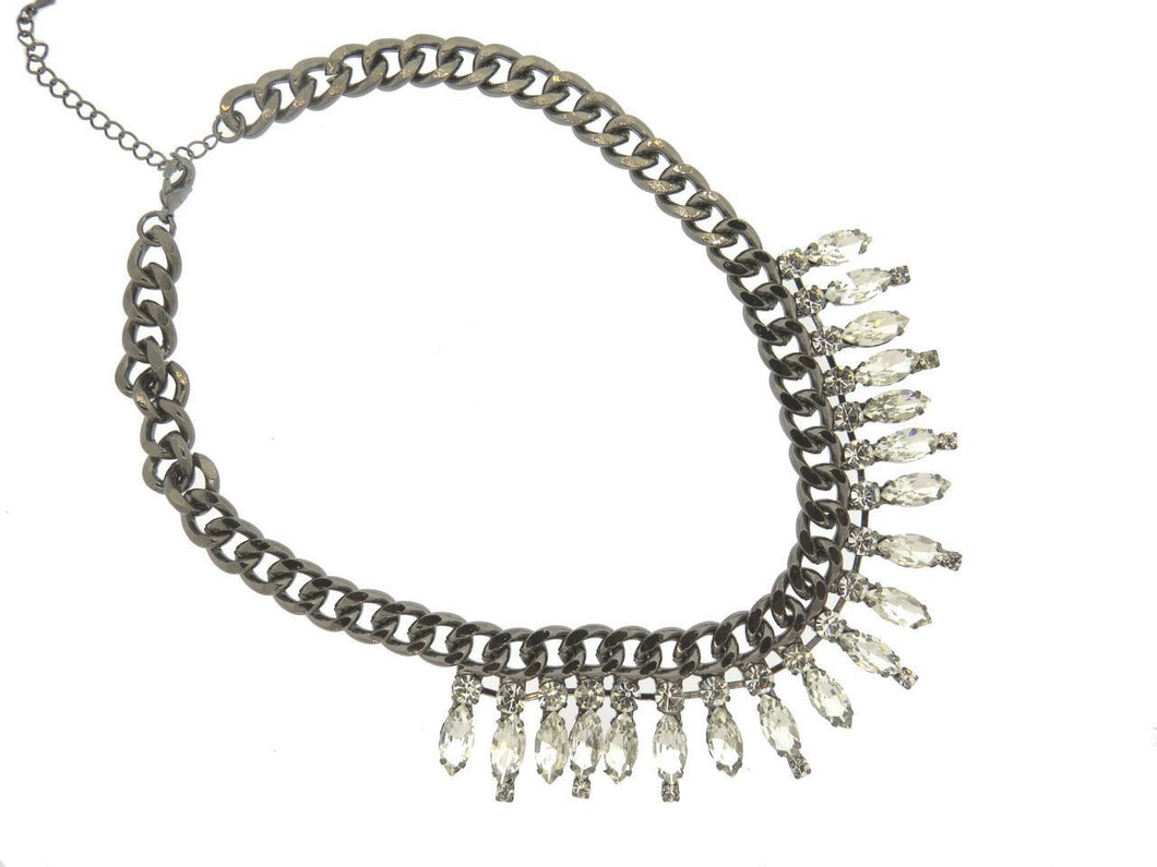 Amelia Oxidize Silver Multi Crystal Bib Necklace
