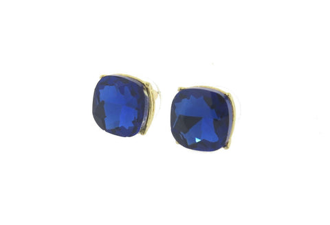 Stunning Blue 12mm Cushion Cut Stud Earrings