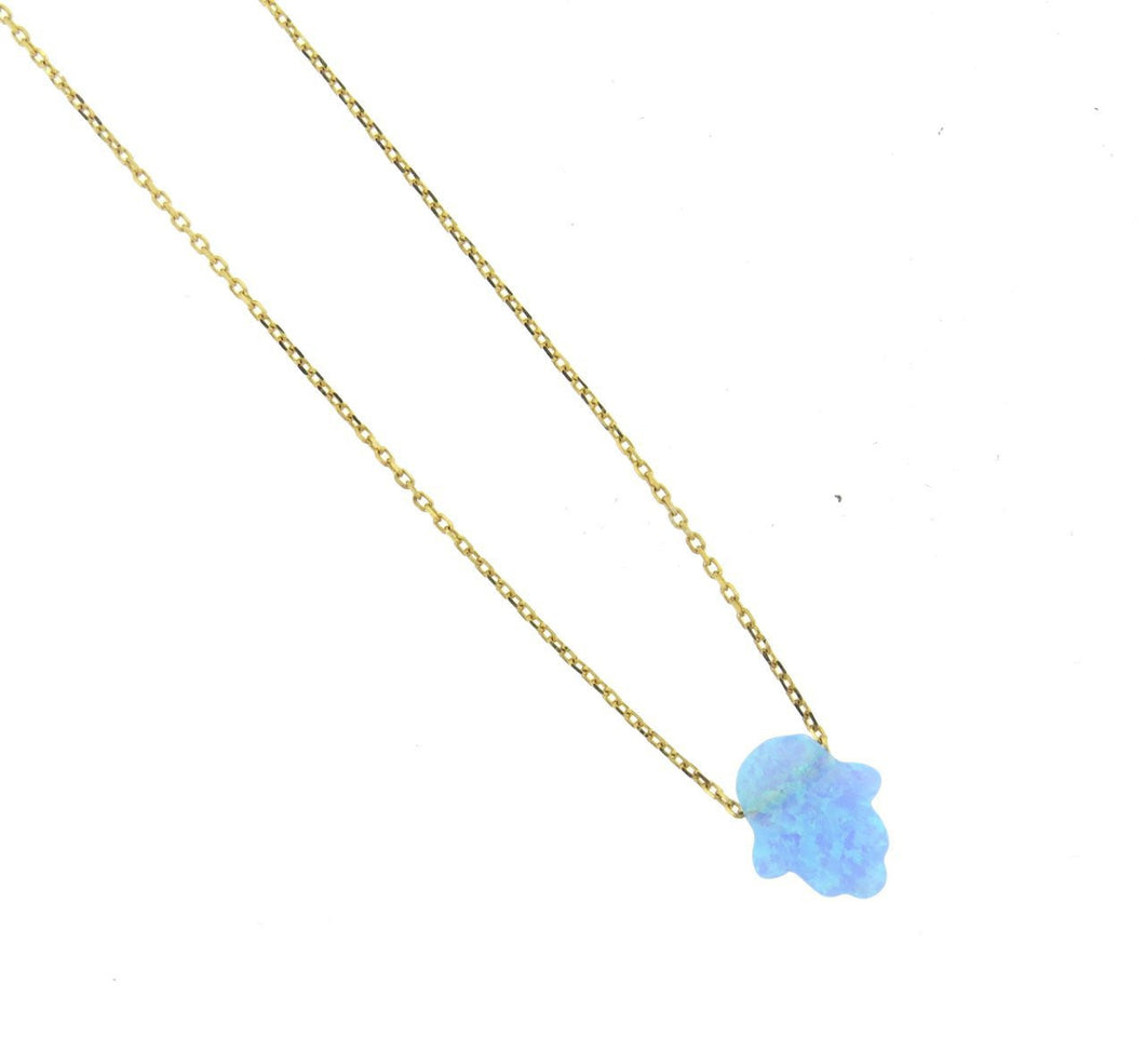 Blue Opal Hasma Gold Vermeil Necklace