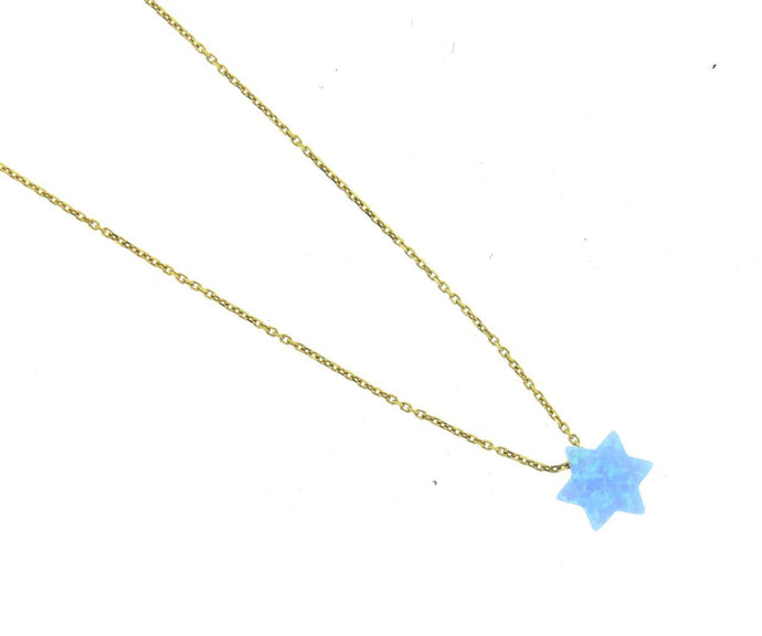 Blue Opal Star Gold Vermeil Necklace