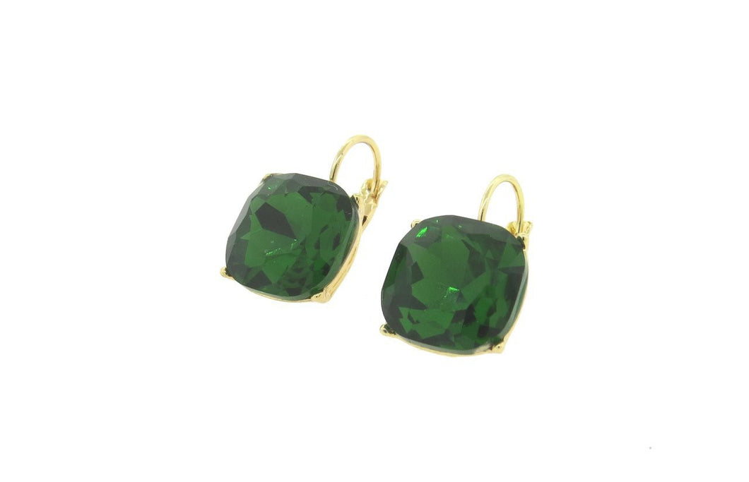 Green 12mm Cushion Cut French Back Earrings