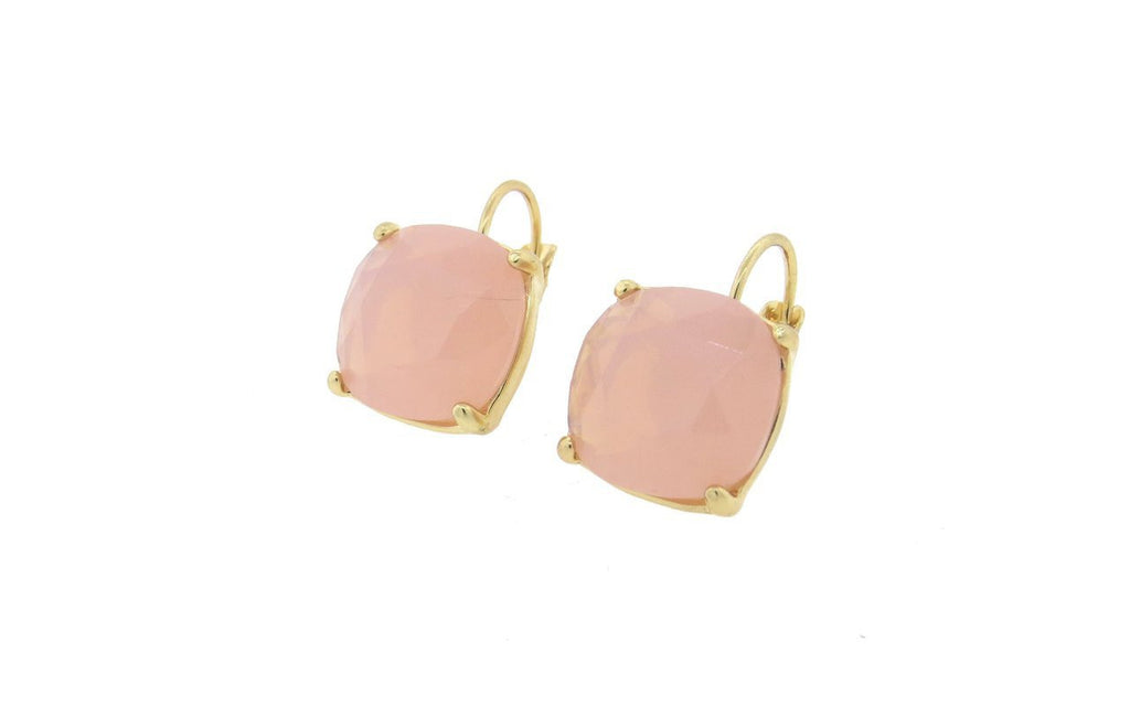 Pink 12mm Cushion Cut French Back Earrings