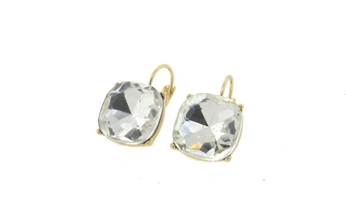 Clear 12mm Cushion Cut French Back Earrings