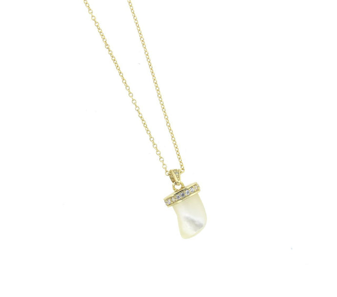 Mother of Pearl Horn CZ Gold Vermeil Necklace