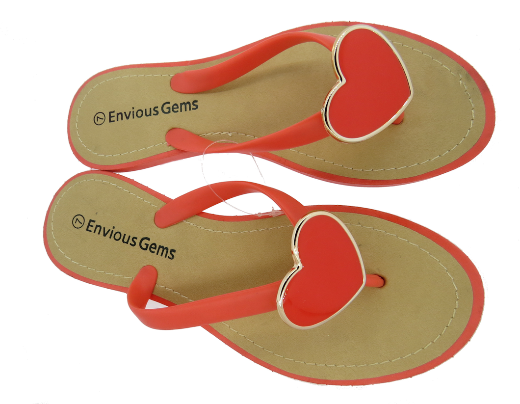 Envious Gems Women's Coral Flip Flop Sandals with Heart Charm