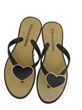 Envious Gems Women's Black Flip Flop Sandals with Heart Charm