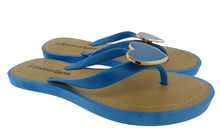 Envious Gems Women's Blue Flip Flop Sandals with Heart Charm