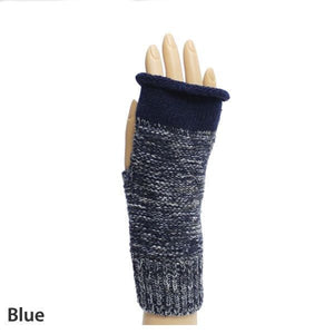 Blue Weaving Pattern Fingerless Gloves