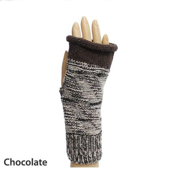 Chocolate Weaving Pattern Fingerless Gloves