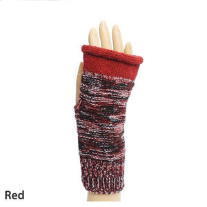 Red Weaving Pattern Fingerless Gloves