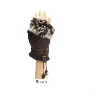 Women's Fingerless Brown Faux Fur Gloves