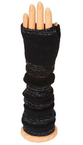 Black Glitter Long Arm Warmer Fingerless Gloves