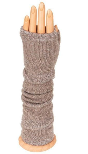 Taupe Glitter Long Arm Warmer Fingerless Gloves