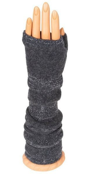 Grey Glitter Long Arm Warmer Fingerless Gloves
