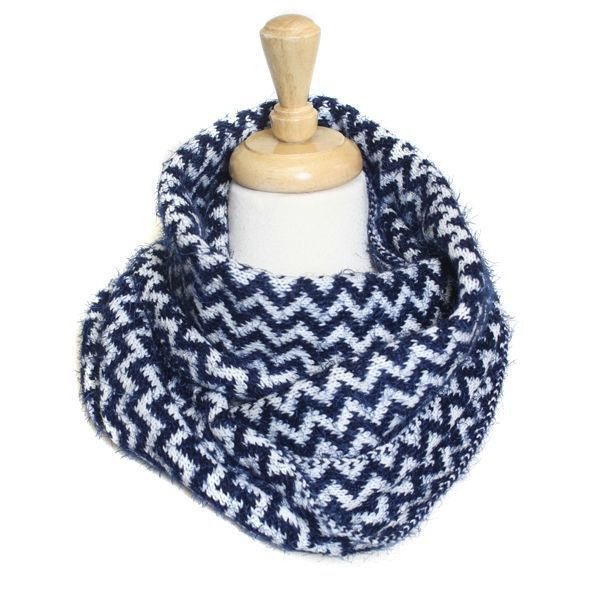 Fluffy Blue Chevron Pattern Infinity Scarf